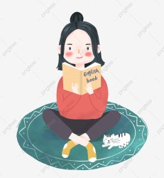 Examination Girl With Ball Head Cute Girl Studying Seriously Carpet Sleeping Cat Girl Kitten PNG Transparent Clipart Image and PSD File for Free Download