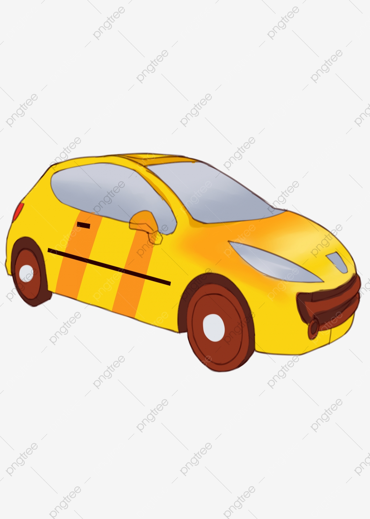 Car Cartoon Png : cartoon, Transportation, Drawn, Cartoon,, Painted,, Vehicle,, Yellow, Transparent, Clipart, Image, Download