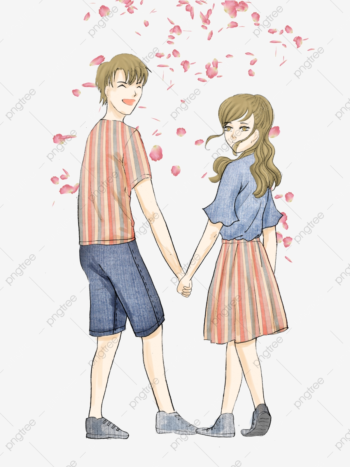 Girl And Boy Holding Hands Drawing : holding, hands, drawing, Tanabata, Valentines, Couple, Wear,, Girl,, Holding, Hands, Transparent, Clipart, Image, Download