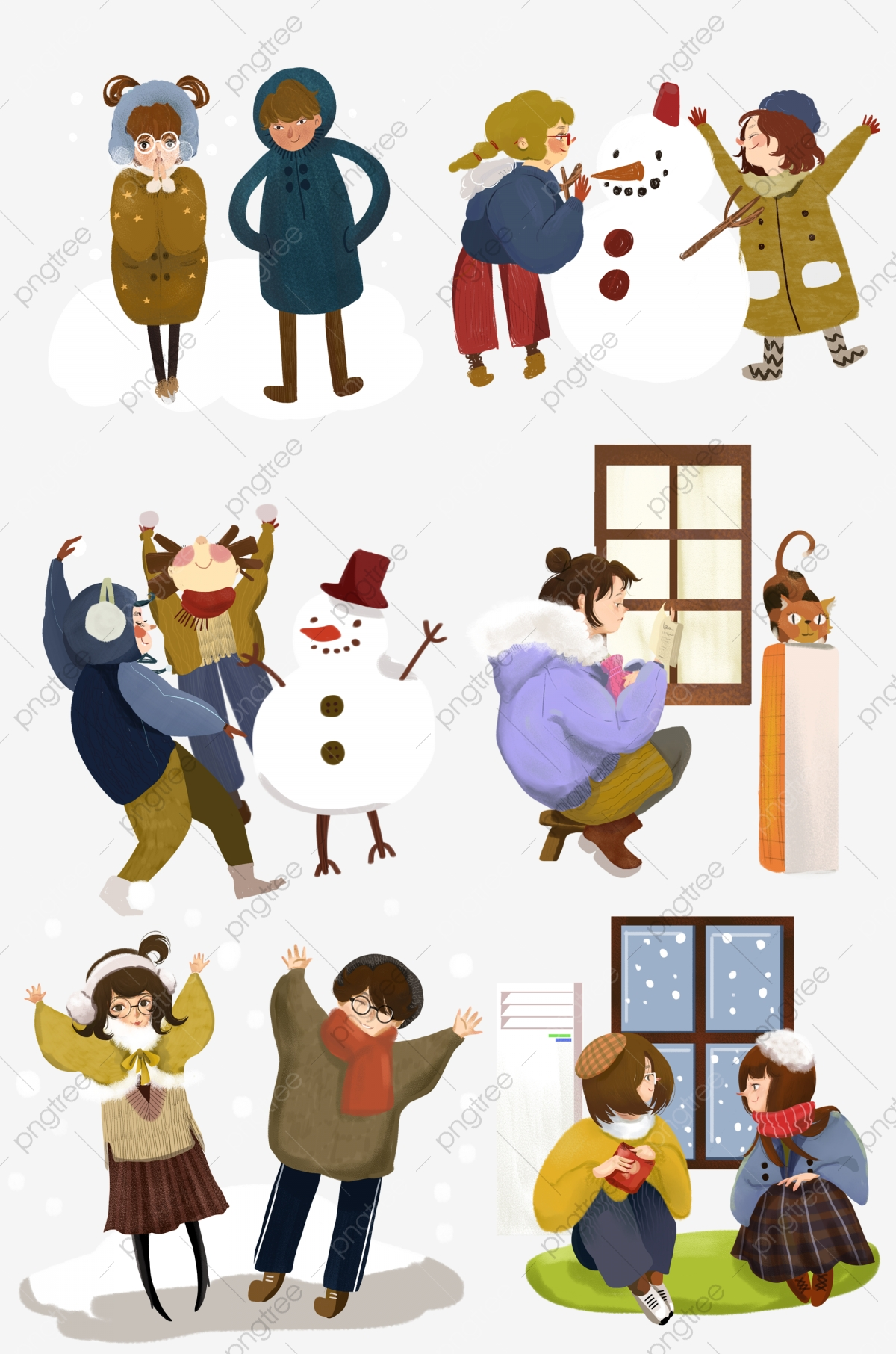 Winter Winter Heating Snow Scene. Snowing. Cold. Cartoon Hand Drawn Wind PNG Transparent Clipart Image and PSD File for Free Download