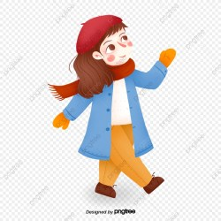A Little Girl Walking Happily Little Girl Clipart Winter Scarf PNG Transparent Clipart Image and PSD File for Free Download