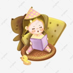 Little Girl Child Reading Book Cartoon Cute Reading Study Warm Reading Girls Children PNG Transparent Clipart Image and PSD File for Free Download
