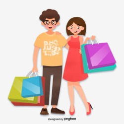 Summer Couple Shopping Shopping Bag Summer Couples Shopping PNG Transparent Clipart Image and PSD File for Free Download