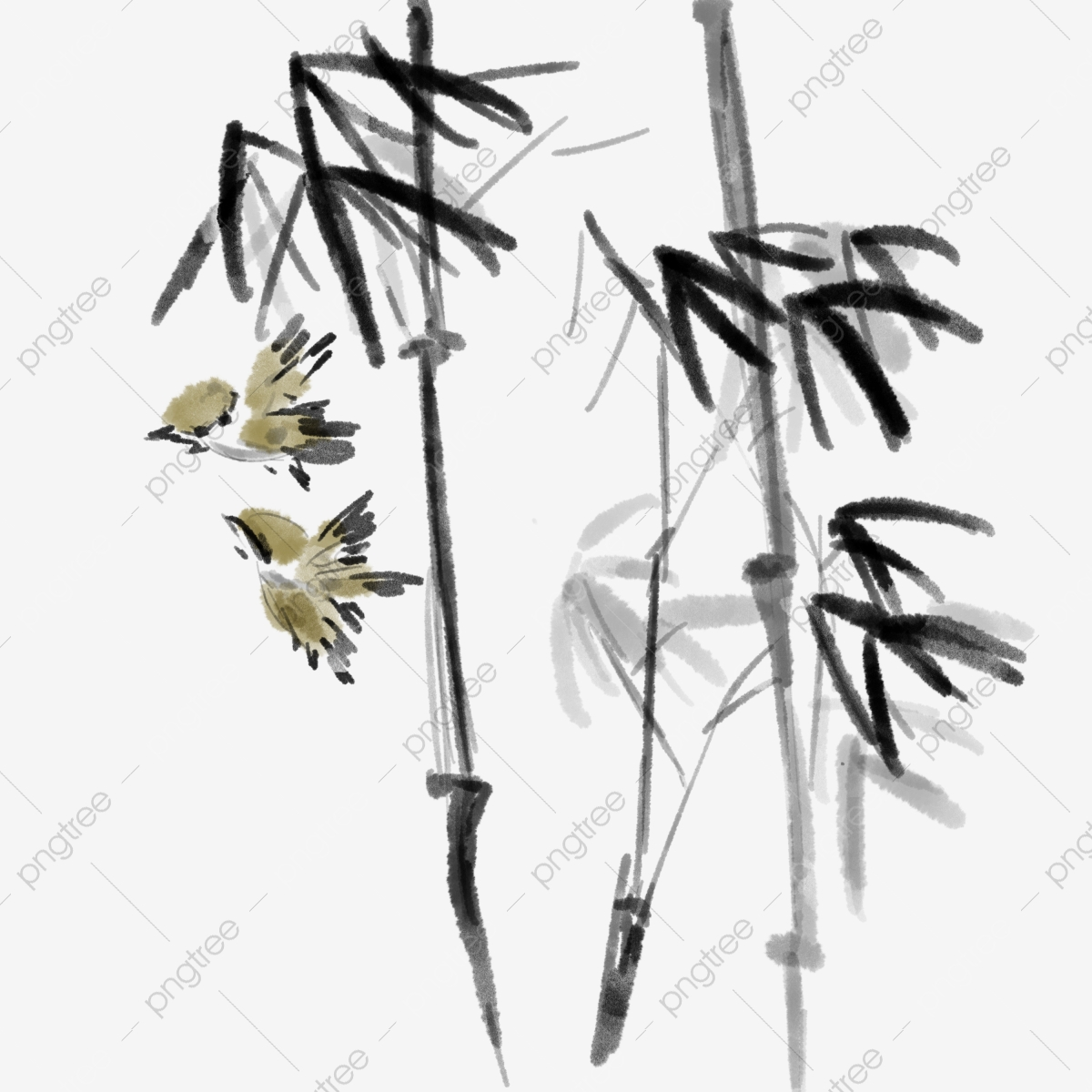 Ink Chinese Style Bamboo Forest Element, Ink, Chinese