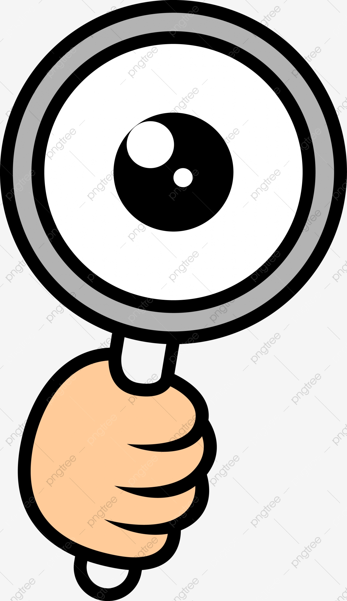Eyes Cartoon Png : cartoon, Cartoon, Magnifying, Glass, Decorative, Transparent, Clipart, Black, White,, Color,, Vector, Background, Download