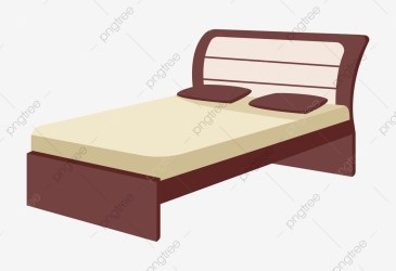 Big Bed Furniture Cartoon Illustration Wood Big Bed Furniture PNG and Vector with Transparent Background for Free Download