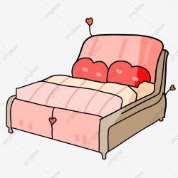 Pink Bed Cartoon Illustration Pink Bed Cartoon Illustration Furniture Illustration PNG Transparent Clipart Image and PSD File for Free Download
