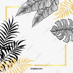 Black Gold Plant Leaves Hand Painted Border Gold Leaf Black Gold Hand Painted PNG Transparent Clipart Image and PSD File for Free Download