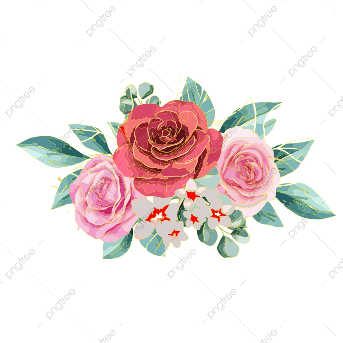 Rose Flower Vector Summer Vector Illustration Png And Vector With Transparent Background For Free Download