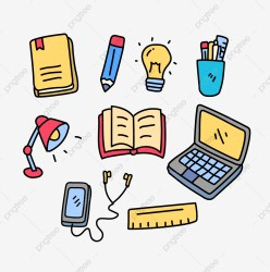 Set Of Studying Related Vector Illustration In Cute Doodle Hand Drawn Style Study Studying Book PNG and Vector with Transparent Background for Free Download
