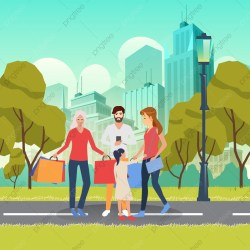 Young Family On Shopping Vector Illustration Family Cartoon Cartoon Character PNG and Vector with Transparent Background for Free Download