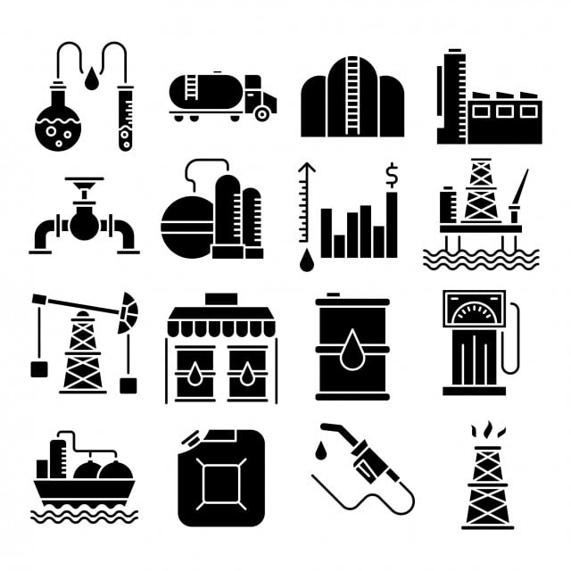 Oil Industry Vector Solid Icons Set, Chemical Analysis