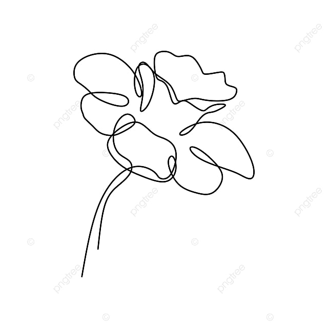 Continuous Line Art Drawing Of Flower Vector Illustration