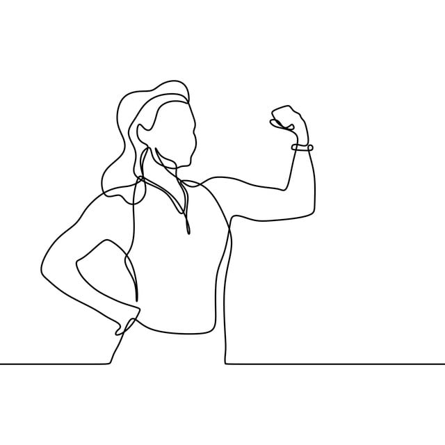Strong Girl Continuous One Line Drawing, Illustration