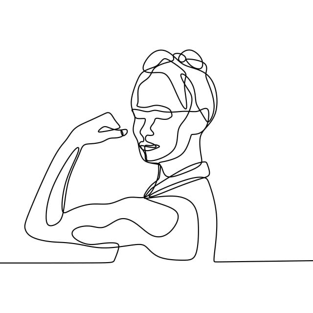 Women Power One Continuous Line Drawing, Illustration