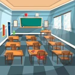 Clean High School Classroom With Chalk Green Board School Clipart Brown Study Table Chair Globe PNG and Vector with Transparent Background for Free Download