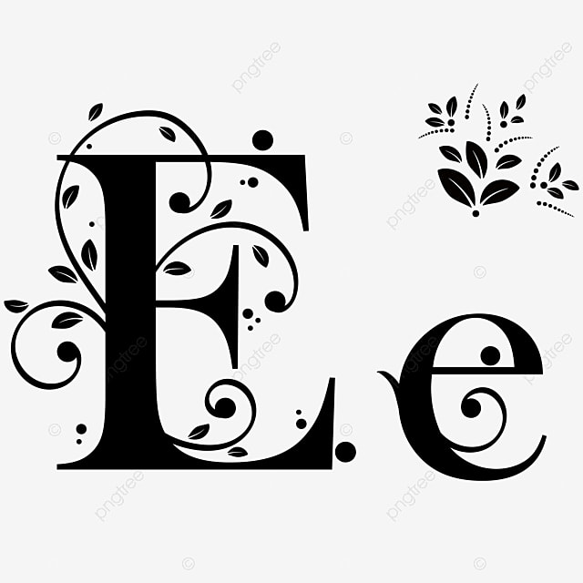 Font Letter E With Ornaments Vintage Upper And Lower Case