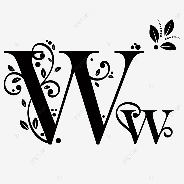 Letter W Upper And Lower Case With Ornaments Vintage Text
