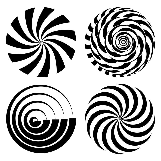 Radial Spiral Rays Set Vector Psychedelic Illustration