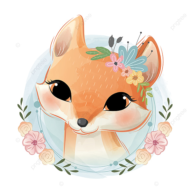 Download this kawaii cute baby animals cartoon set collection1 vector illustration now. Cute Fox Portrait, Baby, Animal, Cute PNG and Vector with ...