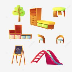 Kindergarten Furniture For Childrens Class Room Kindergarten Room Play PNG and Vector with Transparent Background for Free Download