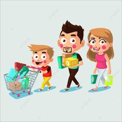 Happy Family Shopping Together Happy Shopping Dad PNG and Vector with Transparent Background for Free Download