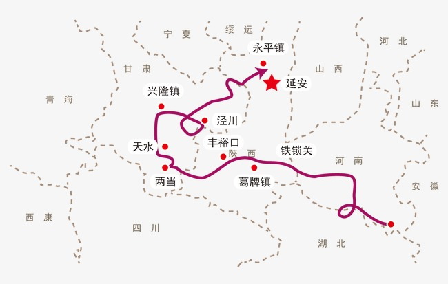 Red Fifth Army Long March Route Map Line Chart, Army