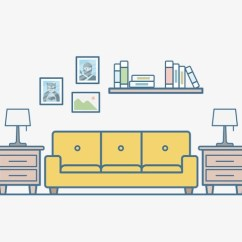 Living Room Pictures Clipart Floor Lamps Simple Hand Painted Sofa Scene Study