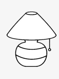 Simple Table Lamp, Lamp Clipart, Black And White, Stick
