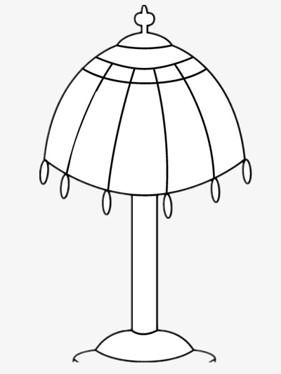 Simple Table Lamp, Lamp Clipart, Black And White, Cartoon