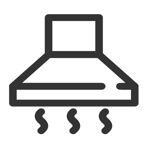 kitchen ventilator island back panel and cooking stove icon with png vector