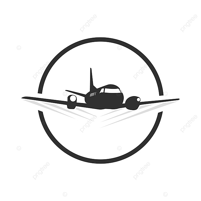 Circle Travel Plane Logo Template In Blacn And White