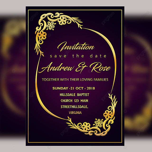 Purple Wedding Invitation Card Template