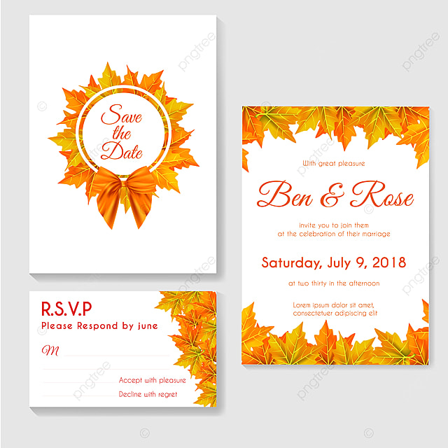 Autumn Wedding Invitation With Leaves Maples Template For