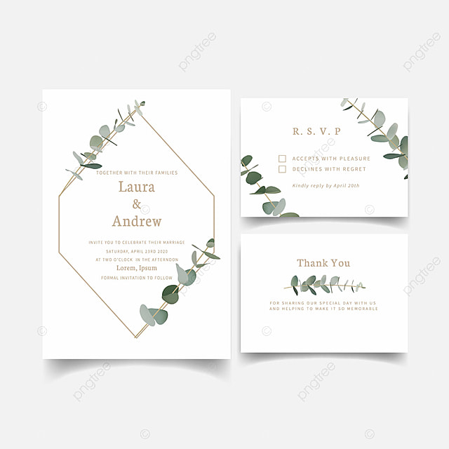 Wedding Invitation Template Greenery Eucalyptus Leaf