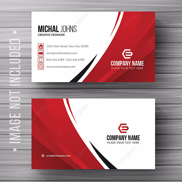 white business card with red details Template for Free