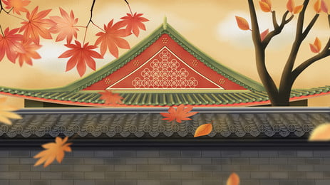 1920x800 Fall Wallpaper Scrolls Maple Leaves Retro Chinese Posters Backgrounds