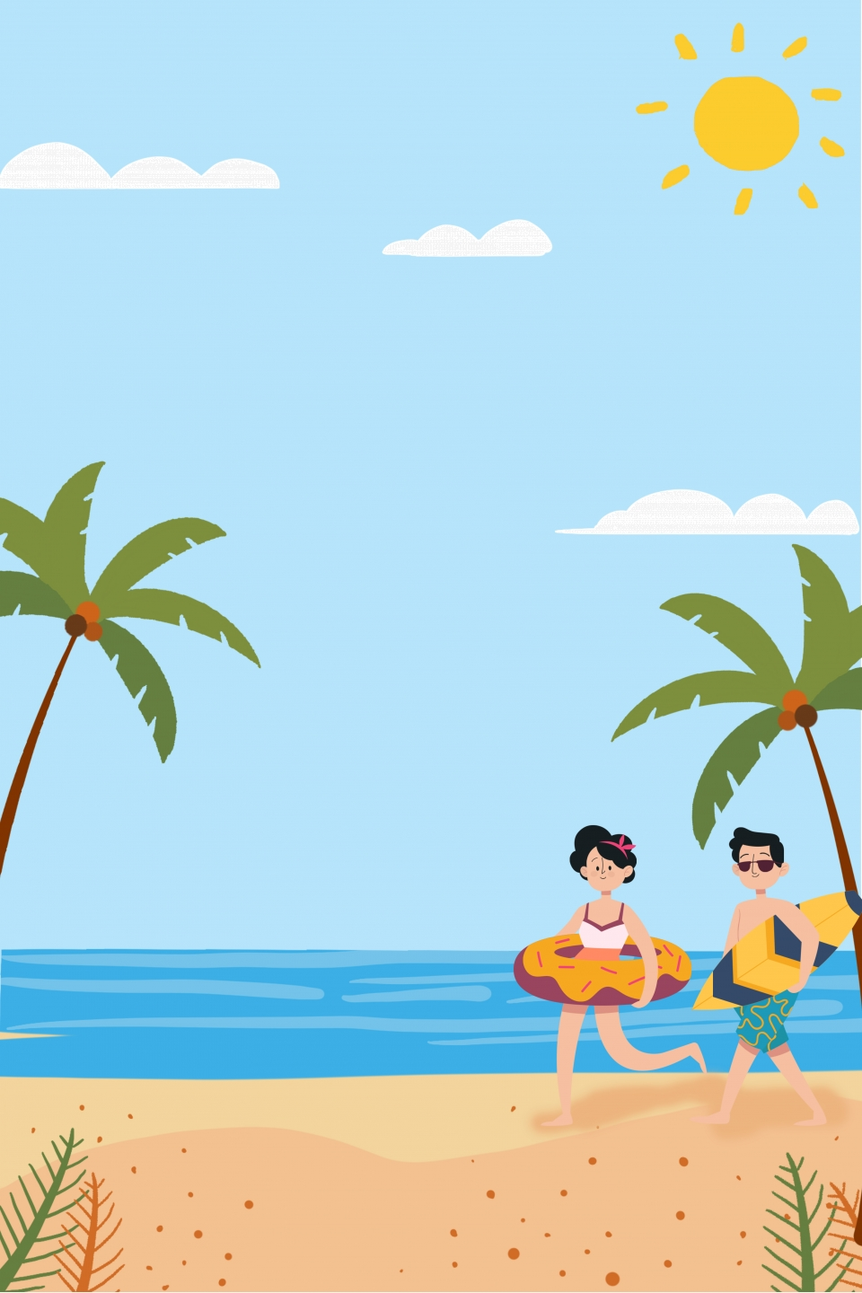 Cartoon Ocean Vacation Travel Background Cartoon Summer Sea Background Image For Free Download