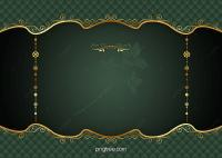 Green Gold Frame Vector European Pattern Background ...