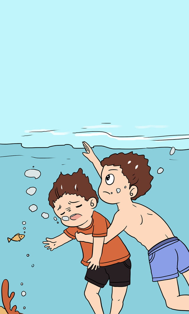 Falling Water Wallpaper Free Download Child Safety Education Drowning Hand Painted Cartoon