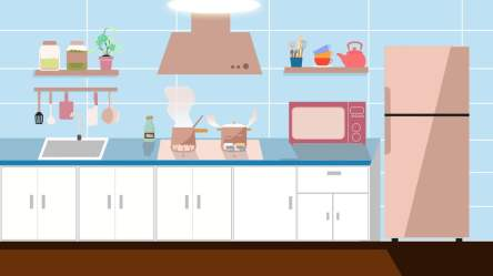 Cartoon Home Kitchen Background Material Kitchen Cooker Kitchenware Background Image for Free Download
