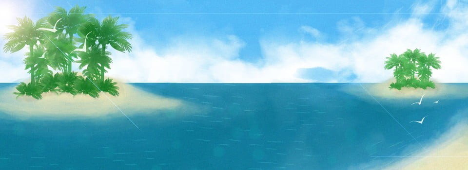 Cartoon Watercolor Island Banner Background Vacation Islands Summer Background Image For Free Download
