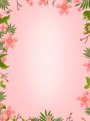 Hand Painted Fresh Pink Flowers And Plants Border Universal Background General Material Flower Pink Background Image for Free Download