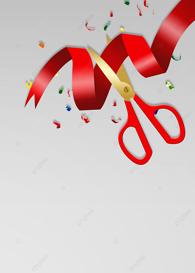 Ribbon Cutting Png : ribbon, cutting, Opening, Ceremony, Ribbon, Cutting, Scissors, Confetti, Background,, Celebrate,, Background, Image, Download