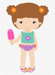 Cute Girl With Short Hair And Popsicle In Tankini Beach Girl Clipart HD Png Download 650x1065 #1166236 PngFind