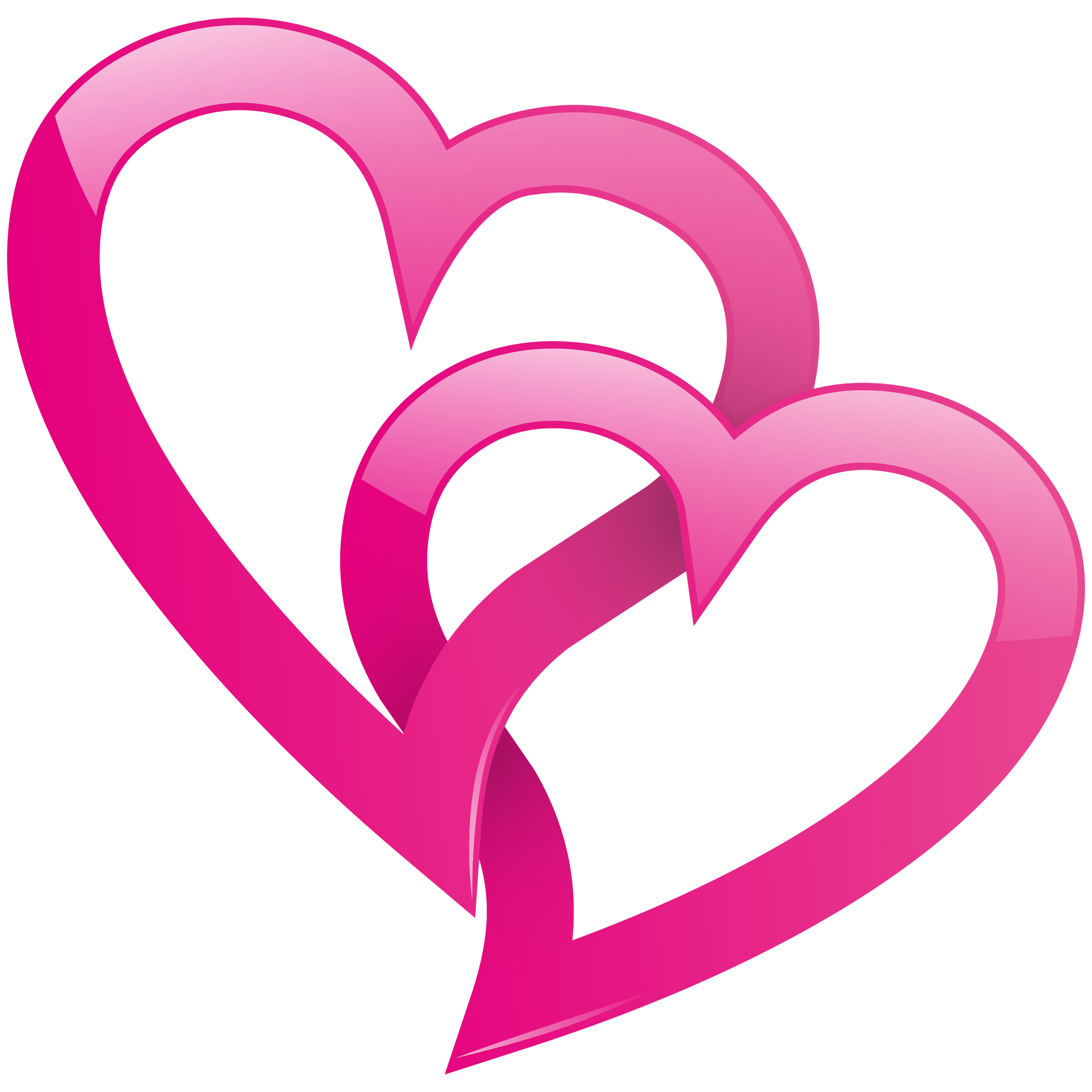 Pink Two Hearts Transparent Clipart