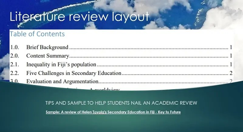 Literature review tips and sample work
