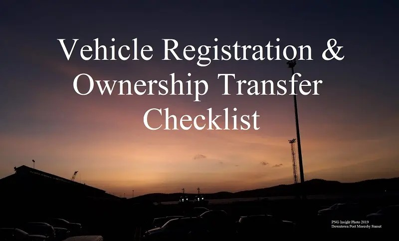 MVIL Vehicle Registration and Ownership Transfer Checklist