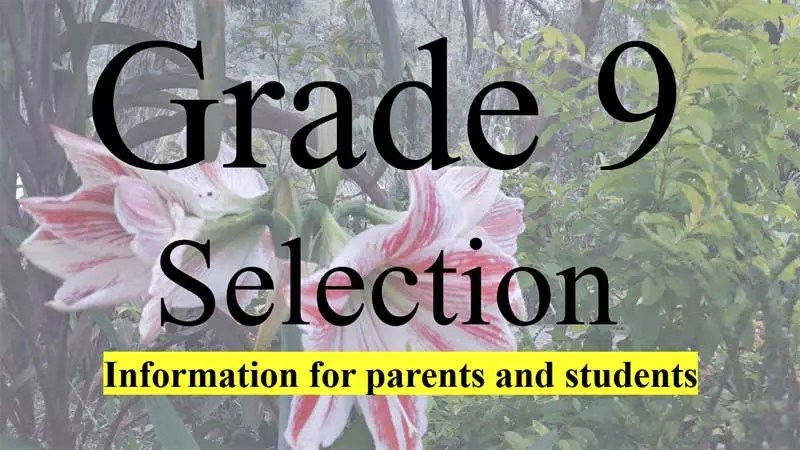 Grade 9 Selection List for 2021 High and Secondary Schools