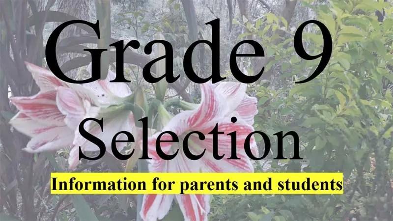 2022 Grade 9 selection list download